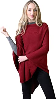 Women's 5-Way Knit Poncho Sweater Pullover Topper, 100% Organic Cotton Super Soft Lightweight All-Season (Merlot Red)