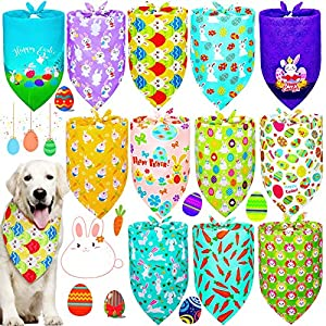 Weewooday 12 Pieces Easter Dog Bandanas Colorful Bunny Triangle Dog Scarf Adorable Easter Egg Bunny Dog Bibs Washable Dog Kerchief Set for Small Medium Large Size Pets