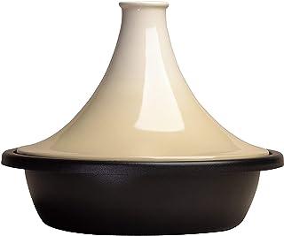 LE CREUSET Tajine de Hierro Fundido, Redondo, Apto para Todas Las Fuentes de Calor, Incl. inducción y Horno, Beige Cream, 31 cm