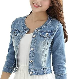 GOT YI Women's Round Neck Stretch Denim Jacket 3/4 Sleeve Light Blue Jean Coat