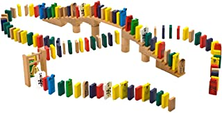 HABA Go-Go Wooden Dominoes 249 Piece Building Set with Stairs, Bridge & Bell for Ages 3-10