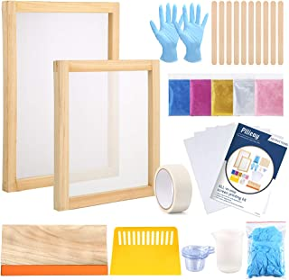 Pllieay 42 Pieces Screen Printing Starter Kit Include Instructions, with 2 Pieces Wood Silk Screen Printing Frames, Screen...