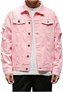 Howme-Men Casual Standard-fit Plus Size Single-Breasted Denim Jean Bomber Jacket