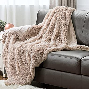 Bedsure Faux Fur Throw Blanket PV Fleece Bed Throws 60 x80  Shaggy Camel, Super Soft & Warm, Reversible with Flannel, Shaggy Fuzzy Fur Bed Blankets
