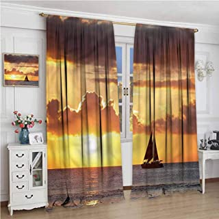NUOMANAN Insulating Blackout Curtains,Ocean Boat in Sea with Sunset,Drapes Thermal Insulated Panels Home décor,120 x 96 inch