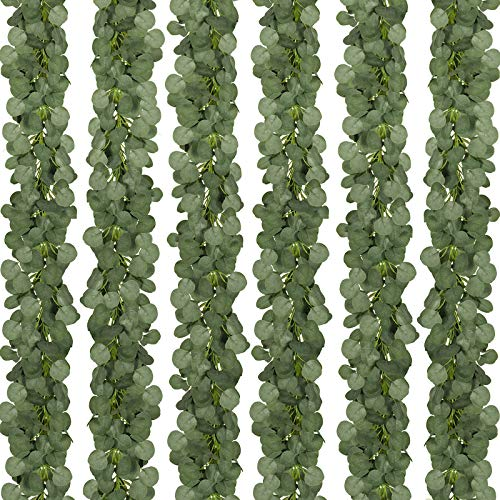CQURE 12 Packs 84Ft Eucalyptus Garland,Artificial Eucalyptus Leaves Greenery Garland Wreath Vine for Wedding Party Table Backdrop Arch Wall Decor
