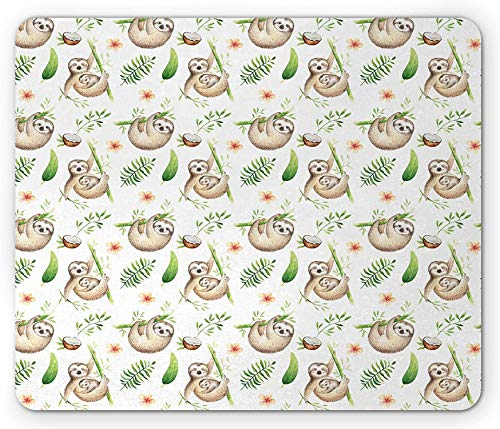 Alfombrilla para ratón perezoso, bebé perezoso y madre, flores de colores suaves, árbol de coco, hojas de feliz, rectangular de goma antideslizante, 22.8 x 19.9 cm