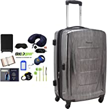Samsonite 56845-1174 Winfield 2 Fashion HS Spinner 24 Inch - Charcoal Bundle w/Deco Gear Luggage Accessory Kit (10 Item)