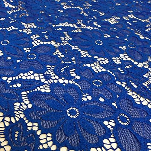 Stretch Lace Fabric Embroidered Poly Spandex French Floral Florence 58' Wide by The Yard (Royal Blue)