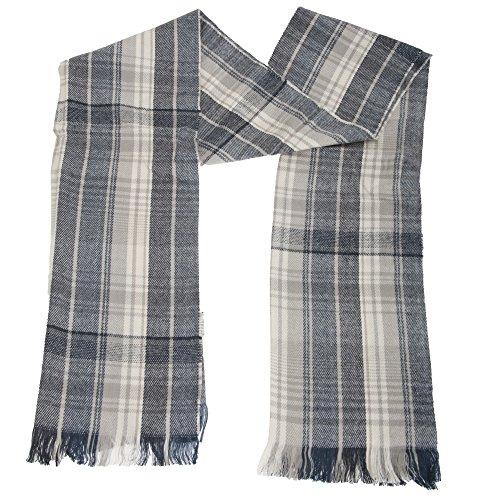 Textiles Universels Echarpe style plaid - Adulte unisexe (224cm x 50cm) (Gris/Bleu marine)
