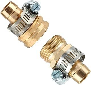 Loprt 1 Set 2 Pack Garden Hose Repair Mender Kit Male/Female/Repair with Stainless Clamp,3/4