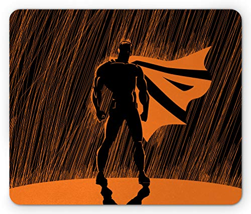 Ambesonne Superhero Mouse Pad, Hero in Disguise at Night with Super Powers Hand Drawn Style Muscular Man Print, Rectangle Non-Slip Rubber Mousepad, Standard Size, Black Orange