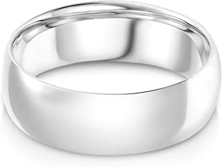 14k Solid Yellow Gold 7mm Plain Comfort Fit Wedding Band