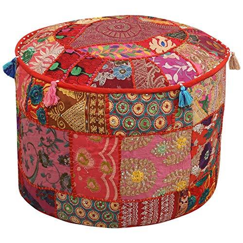 Shubharambh Enterprises Dekorativer Sitzsack mit Blumenmuster, rund, Baumwolle, Patchwork-Design, Hippie-Stil, großer Sitzsack, Fußhocker, Überwurf, handgefertigt, indische Sitzsäcke, Möbeldekoration