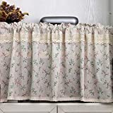 choicehot Cotton Linen Café Curtain Coloured Printed Panel Curtains Country House Style Kitchen Curtain Vintage Crochet Beige Bistro Curtain Romantic Lace Short Curtain 1 Piece 40 x 140 cm (H x W)