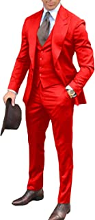 Wemaliyzd Men's 3 Pieces Peak Lapel Bridegroom Wedding Suit V-Neck Vest Pants
