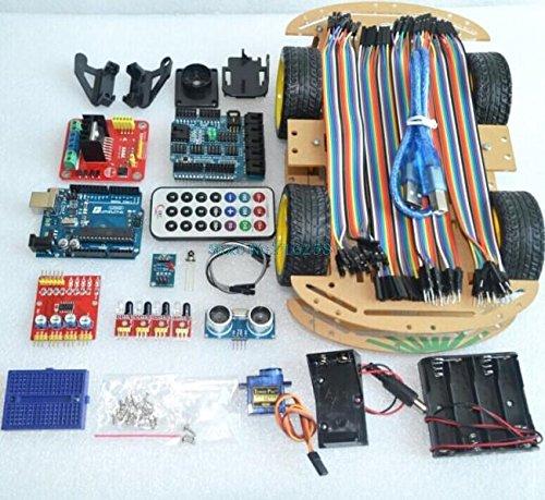 AuBreey Multi-Functional 4WD Robot Car Kits Sensor Board Ultrasonic Module UNO R3 MEGA328P For Arduino Robot Car Assembly Kit