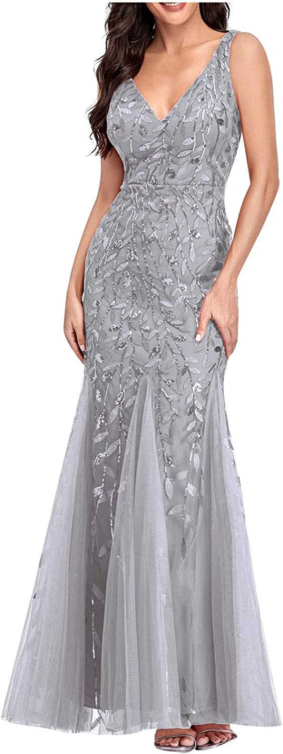 Womens Elegant Maxi Dress for Wedding Guest, Sexy Lace Sleevelesss High Waist V Neck Flowy Formal Party Dress Gown