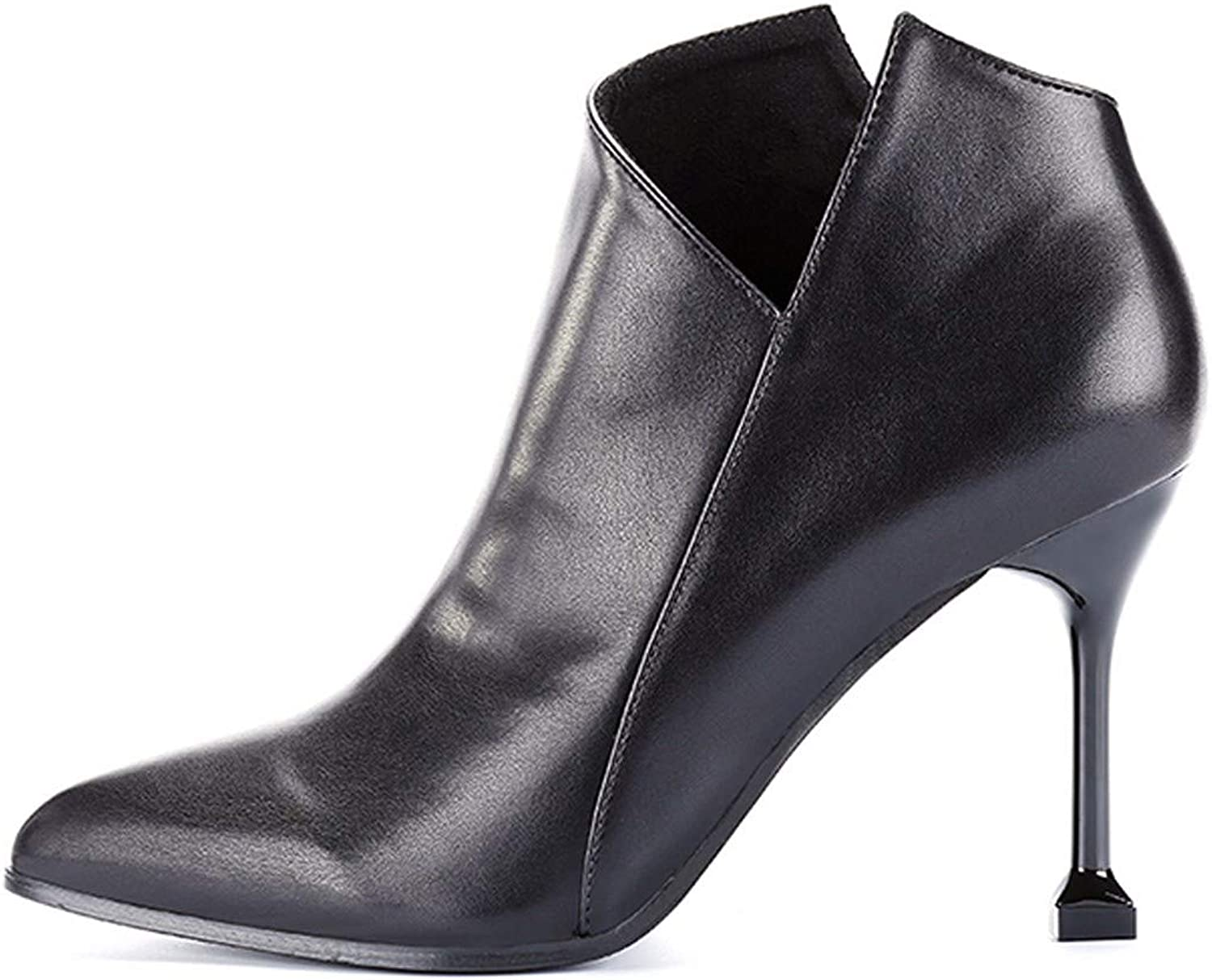 SFSYDDY Popular shoes Chelsea Boots with High 9Cm Sharp Pointed Thin Heel Short Boots Single and Bare Boots Leather Boots.