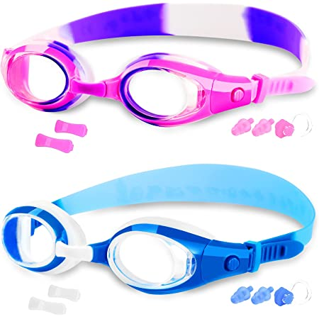 COOLOO 2-PACK Kids Swimming Goggles Junior Children Girls Boys Early Teens Age 3-15, with Anti-Fog, Waterproof, Protection Lenses