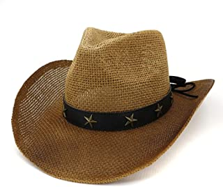 SHENTIANWEI Women Men Western Cowboy Hat Women Outdoor Beach Hat Visor Painted Copper Five-Pointed Star Decoration Cowboy Straw Hat
