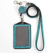 QIDUN Girl Badge Holder Rhinestone Lanyard Bling Crystal Necklace Badge Card Holder for Business Id/Key/Cell Phone (Lake Blue)