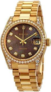 Rolex Datejust 31 Black Mother of Pearl Jubilee Diamond Dial Ladies 18kt Yellow Gold President Watch 178158BKMJDP