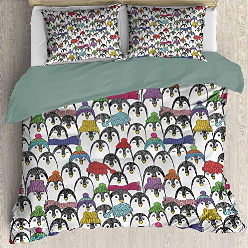 Waynekeysl Sea Animals Duvet Cover Bedding Set, Pattern with Cute Penguins in Colorful Hats and Scarfs Cold Winter Fun Art, Decorative 3 Piece Bedding Set with 2 Pillow Shams, Quenn Size, Multicolor