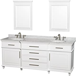 Wyndham Collection Berkeley 80 inch Double Bathroom Vanity in White with White Carrara Marble Top with White Undermount Oval Sinks and 24 inch Mirrors