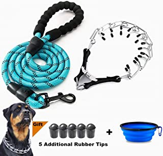 VCZONE Dog Prong Collar, Adjustable Stainless Steel Pinch Collar with Rubber Caps and Dog Leashes for Medium and Large Dogs Training