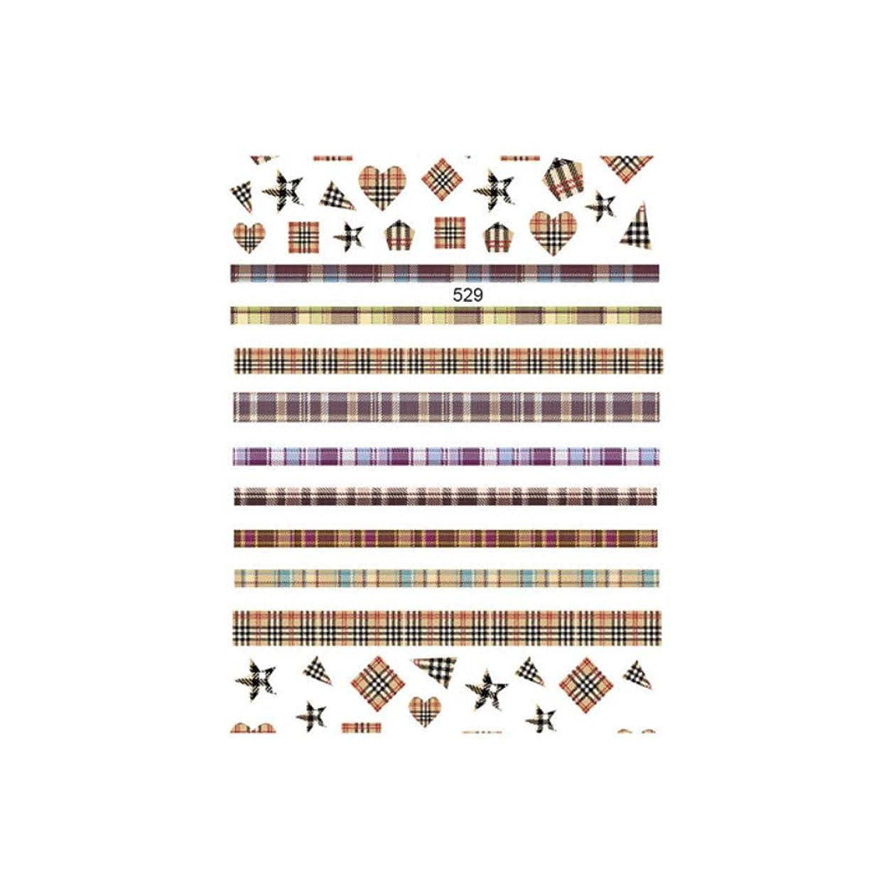 印をつける活発絶対の秋 冬ネイルシール バラエティチェック柄シール 【529】チェック ライン ハート スター