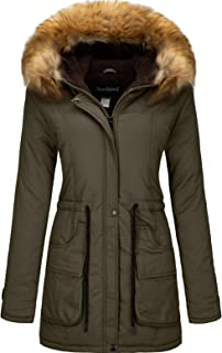 Women's Winter Thicken Military Parka Jacket Warm Fleece Cotton Coat with Fur Hood