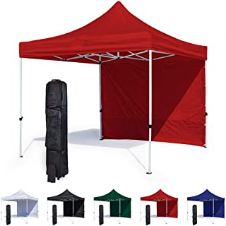 Vispronet 10x10 Canopy Tent and Sidewall – Economy Edition – Durable Steel Frame, Water-Resistant Canopy Top and Side Wall – Bonus Wheeled Canopy Bag and Premium Stake Kit (Red)