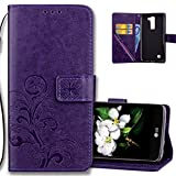 LG K8 2016 Wallet Case Leather COTDINFORCA Premium PU Embossed Design Magnetic Closure Protective Cover with Card Slots for LG Phoenix 2/LG Escapte 3/LG K8 2016/LG K7 2016. Luck Clover Purple