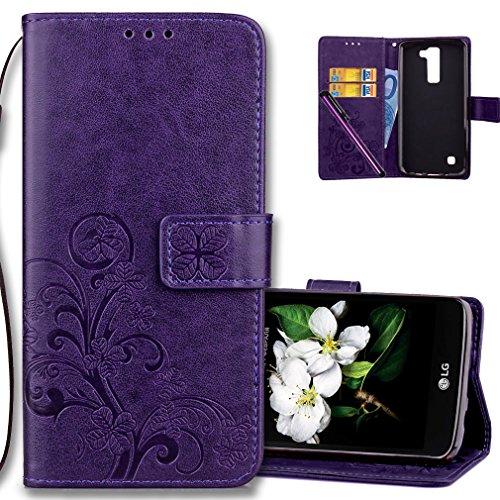 COTDINFORCA Case for LG K8 2016 Wallet Case Leather Premium PU Embossed Design Magnetic Closure Protective Cover with Card Slots for LG Phoenix 2/LG Escapte 3/LG K8 2016/LG K7 2016. Luck Clover Purple