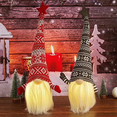 Kmuysl Christmas Gnome Decorations, 2Pcs Christmas Gnome Lights, Lighted Scandinavian Nordic Tomte Gnomes Nisse Christmas Holiday Winter Party Decor Home Table Decoration Presents (Gray+Red)