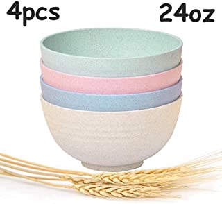 Wheat Straw Plastic Bowls-unbreakable-reusable- Microwave- Dishwasher Safe Cereal Bowl/Dinnerware Set/BPA Free/Perfect for Soup Rice Noodle Ramen Salad and Pasta (24oz x4pcs)