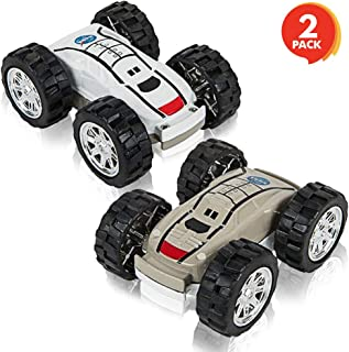 ArtCreativity Friction Flip Stunt Toy Cars for Boys - Set of 2 - Cool Space Rover Double-Sided Toys - Awesome 360 Degree Flips - Best Birthday Gift for Kids, Boys, Girls, Toddlers