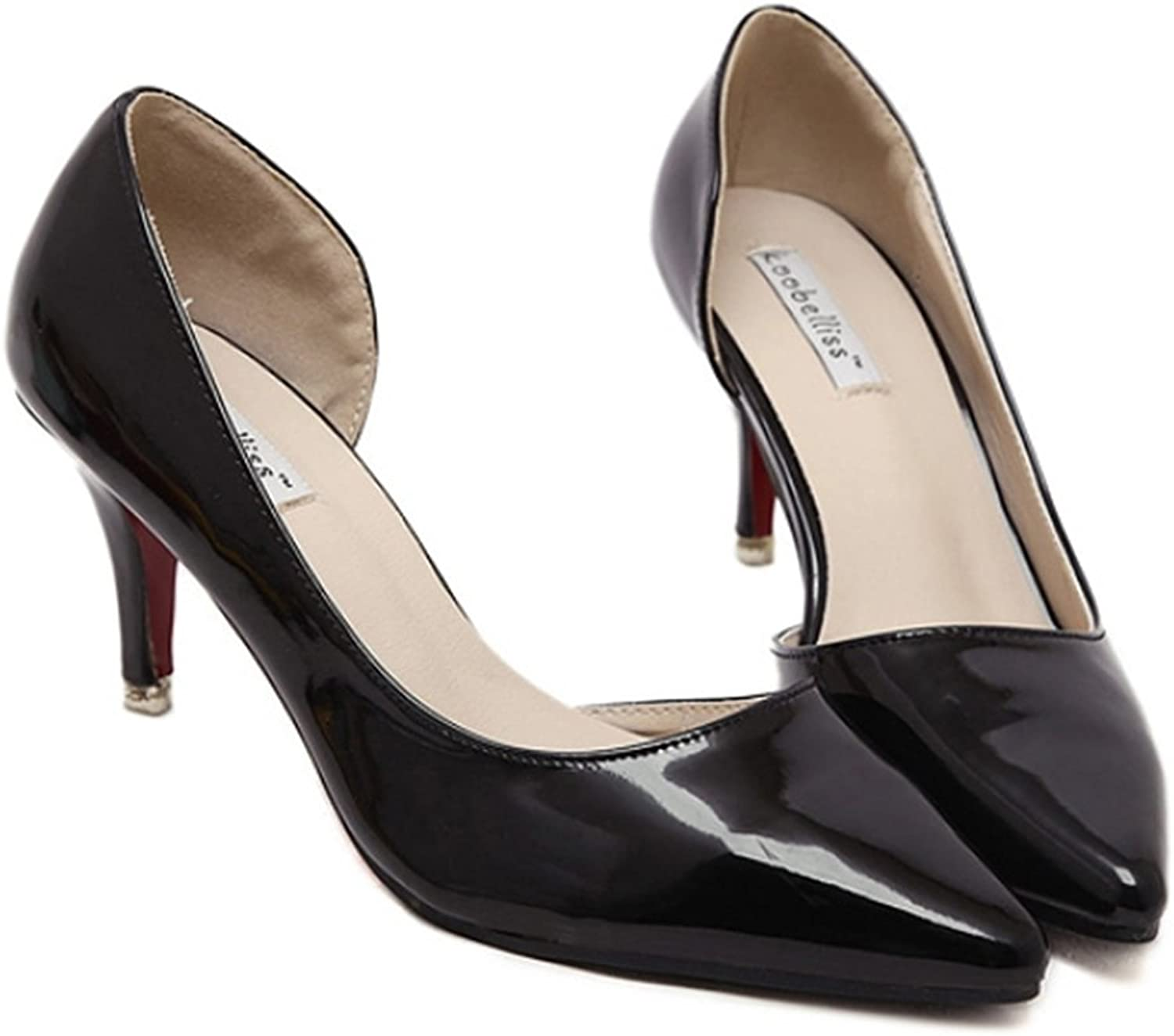 Thin shoes Pointed Middle Heel Women shoes black 38