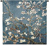 Blossoming Almond Tree by Vincent van Gogh | Woven Tapestry Wall Art Hanging | Contrasting Scenery with White Flowers | 100% Cotton USA Size 35x35