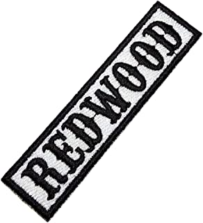 NT0505T Redwood Biker Front of Vest Jacket Title 100% Embroidered Patch Iron or Sew