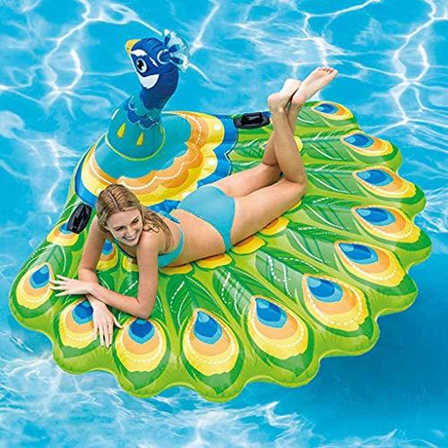 Sixcup® Aufblasbar Pool Schwimmen Sommeraußenpool Peacock Inflatable Island Riesige Strandschwimmer Pfau Poolfloß Pool-Insel Pool schwimmt Spielzeug Pool Lounge für Erwachsene Kinder (Brown)