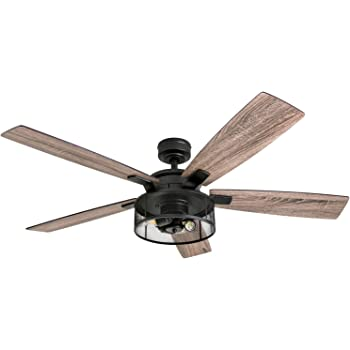 "Honeywell Ceiling Fans 50614-01 Carnegie LED Ceiling Fan 52"", Indoor, Rustic Barnwood Blades, Industrial Cage Light, Matte Black"
