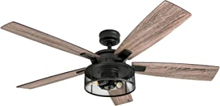 "Honeywell Ceiling Fans 50614-01 Carnegie LED Ceiling Fan 52"", Indoor, Rustic Barnwood Blades, Industrial Cage Light, Matte..."