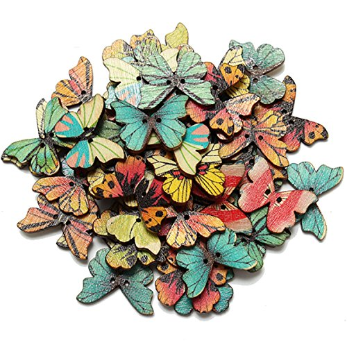 KINGSO 50pcs 2 Holes Mixed Butterfly Wooden Button Sewing Scrapbooking DIY Craft by King So