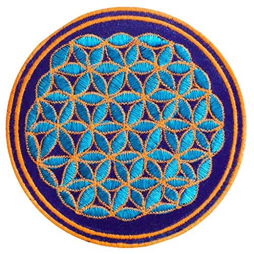 Parche de la flor de la vida (~9 cm de parche, geometría sagrada, UV activo), diseño de flores de la vida Azul y naranja. S