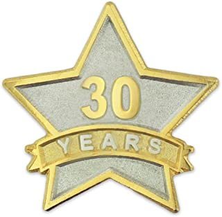 PinMart 30 Year Service Award Star Corporate Recognition Dual Plated Lapel Pin