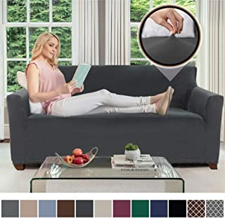 Gorilla Grip Original Velvet Fitted 1 Piece Small Sofa Slipcover, Stretch Up to 62 Inches, Soft Velvety Covers, Luxurious Slip Cover, Spandex Sofa Furniture Protector, with Fasteners, Dark Gray