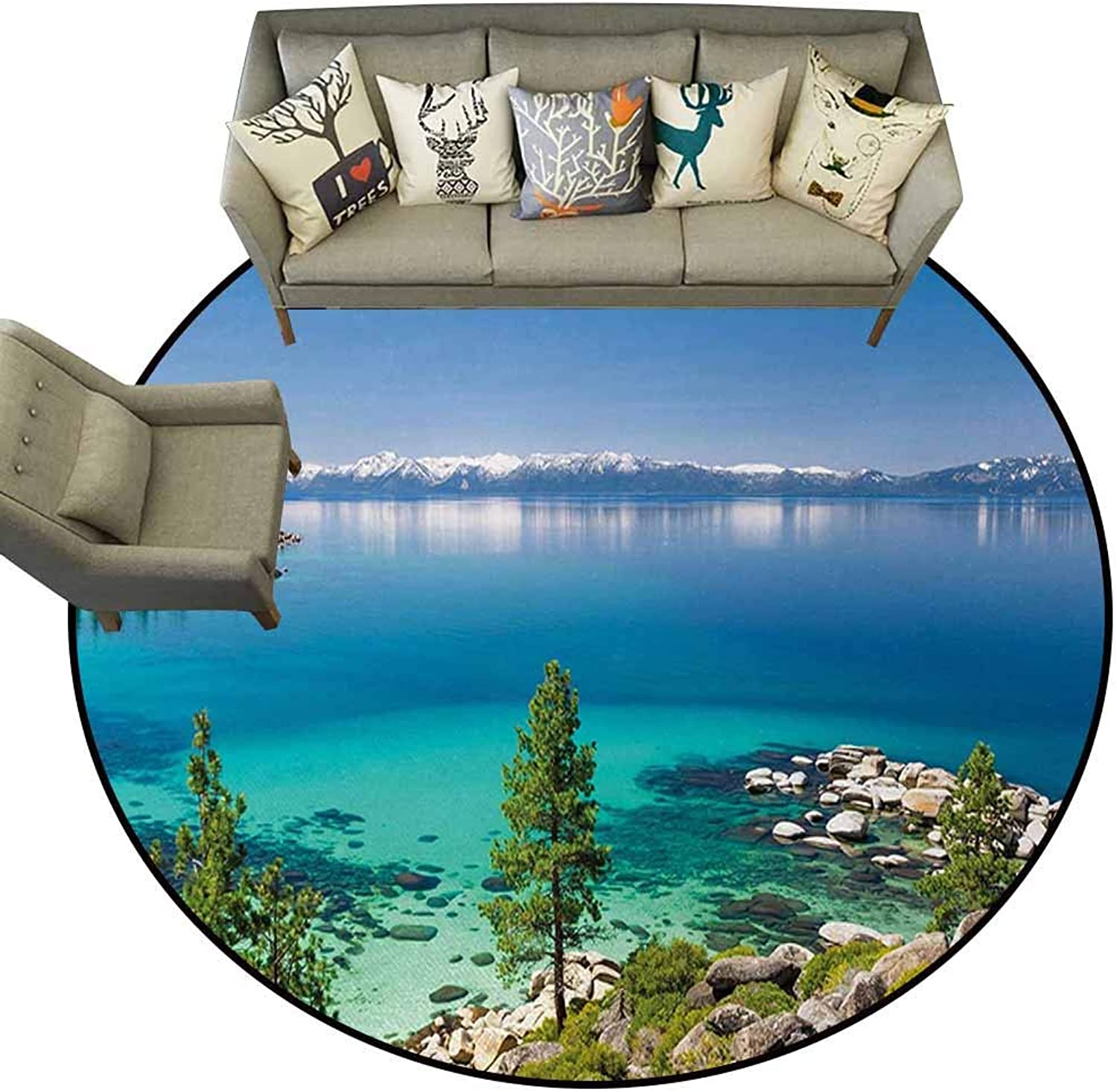 Doormat Kitchen Bathroom,bluee,Tranquil View of Lake Tahoe Sierra Pines on Rocks with Turquoise Waters Shoreline,bluee Grey Green,Floor Rug shoes Scraper Door Mat Rug4 feet