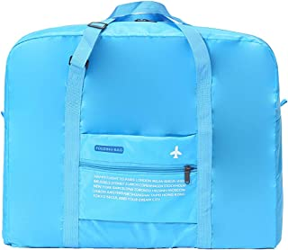 Falytemow Packable Travel Duffel Bag Foldable Waterproof Carry Storage Luggage Tote Lightweight Large Capacity Portable Luggage Bag for Suitcase Trolley handles Travel Duffel Shoulder Tote Bag (Blue)
